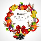 stock photo of indian apple  - Beautiful Happy Thanksgiving Day fruits and vegetables decorated frame with red ribbon on grey background - JPG