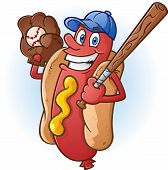 foto of ball cap  - A smiling hot dog baseball player cartoon character with a bat - JPG