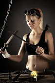 image of shoulder-blade  - portrait of a beautiful woman with a sword - JPG