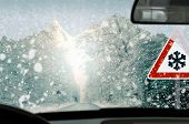 stock photo of dangerous situation  - Winter driving  - JPG