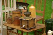 stock photo of wooden box from coffee mill  - Vintage coffee grinder sale at the market - JPG