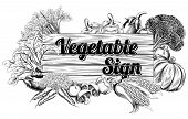 pic of lithographic  - A vintage retro woodcut print or etching style vegetable wooden sign illustration - JPG