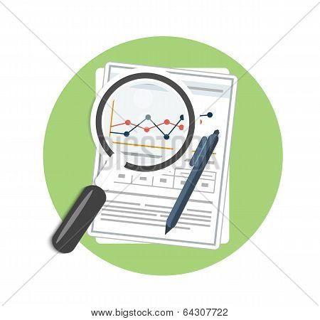 Magnifying Glass, Pen And Chart