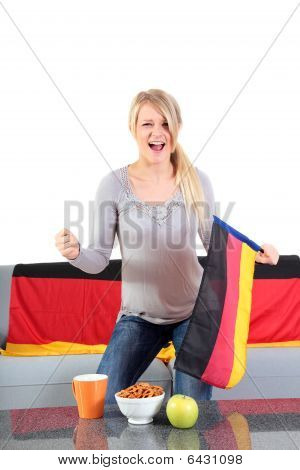 Attractive woman whoops a german team