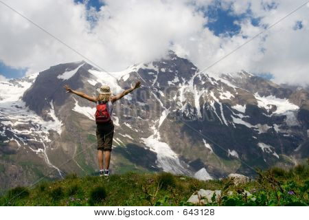 Tourist in Mountains Victory, People Hiking Backpacker Climbing, Tourism Concept