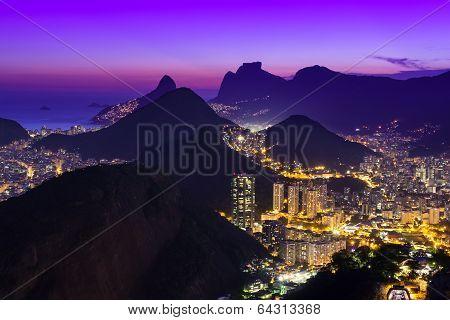 Night view of Copacabana beach and Botafogo in Rio de Janeiro