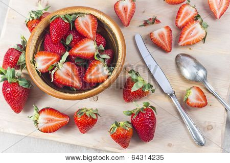 Fresh Strawberry Pieces Cut By Vintage Knife Country Style