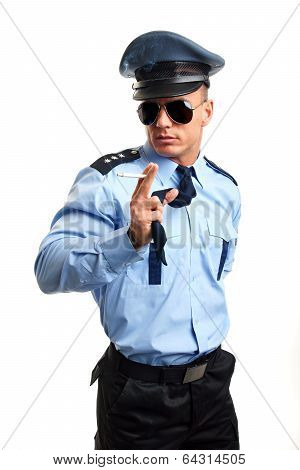 Policeman with cigarette