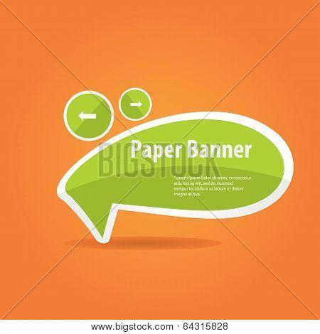 vector green paper banner on orange background