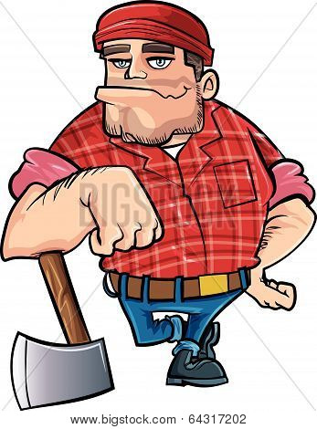 Cartoon lumberjack holding an axe.