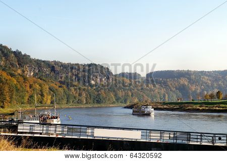 Steamer on the Elbe River