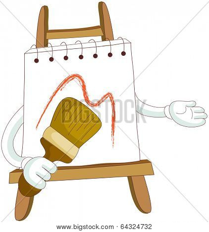 A vector illustration of notebook on easel
