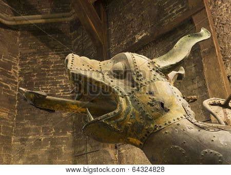 Head Of The Previous Gulden Draak Statue Inside Ghent Belfry.