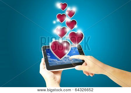 Female Hand Hold Digital Tablet Present Heart.