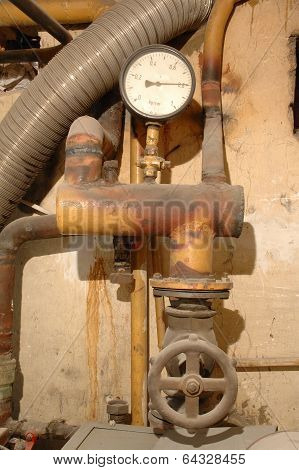 Old Gauge, Valve And Heating Pipes