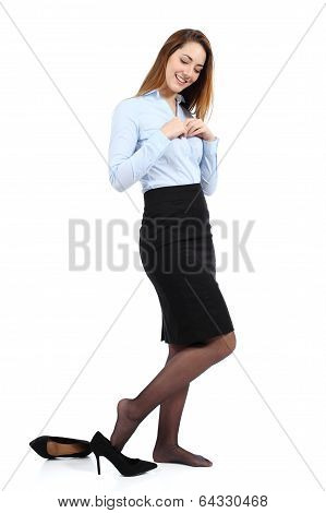 Beautiful Business Woman Dressing Or Undressing