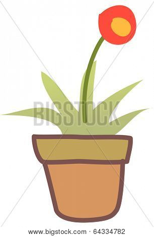 Vector illustration of a flower in pot