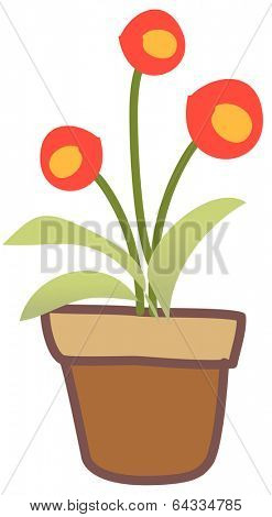 Vector illustration three flowers in a pot