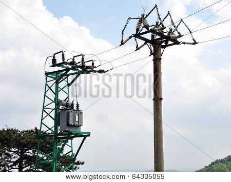 transformers and powerlines high voltage