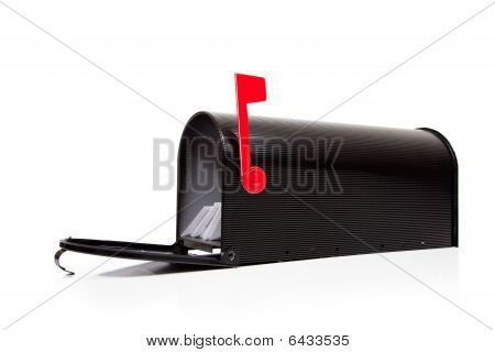 An Open Black Mailbox With Letters On White