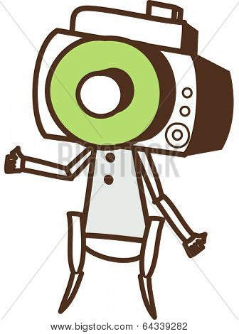 Vector illustration of a robot with a camera as head