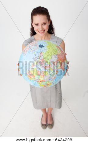 Young Businesswoman Holding The Earth Planet