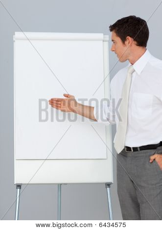 Attractive Businessman Giving A Presentation