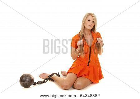 Prisoner Orange Ball Sit On Floor