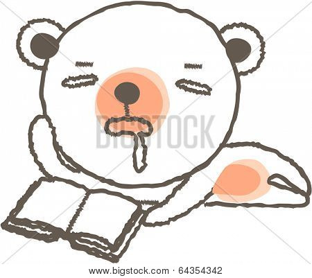 Vector illustration of a dozing bear with book