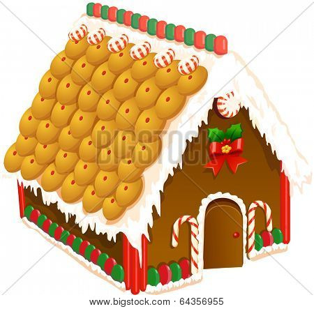 Vector illustration of a gingerbread house