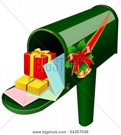 Vector illustration of a mailbox full of presents