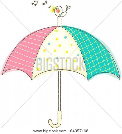 Vector illustration of songbird on top of an umbrella