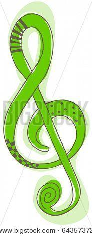 Vector illustration of blue G-clef