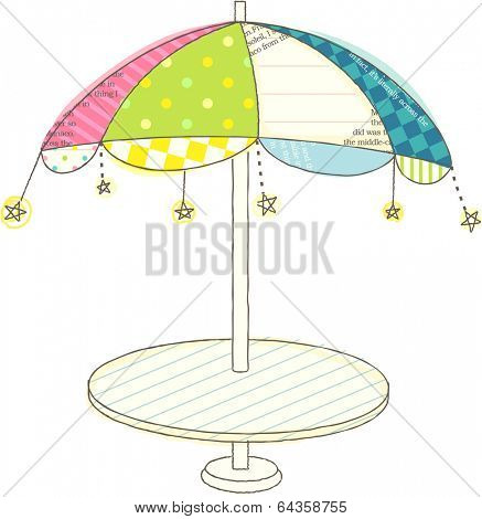 Vector illustration of colorful parasol