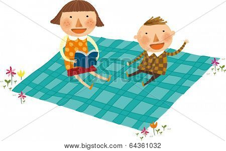 The view of children are sitting on the mat