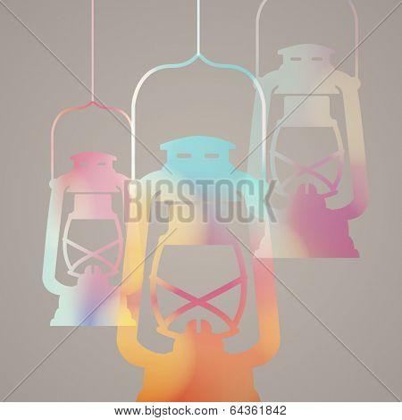 Abstract Design with Traditional arabic kerosene lamp