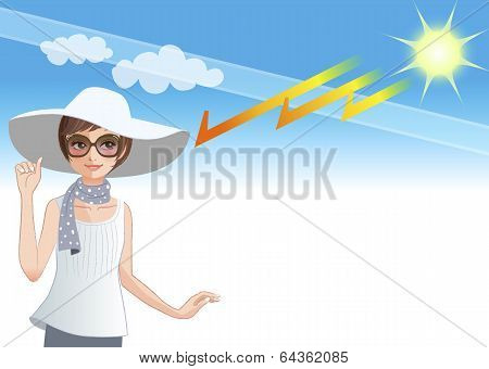 Young Woman Wearing A Wide Brimmed Hat To Protect From Sunlight Getting Though The Ozone Layer