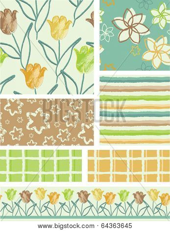 Bright Tulip Floral Vector Seamless Patterns. Use as fills, digital paper, or print off onto fabric to create unique items.