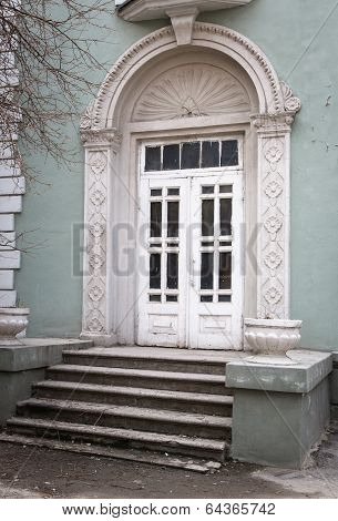 Wooden Door Entrance To The Building In Classical Style.