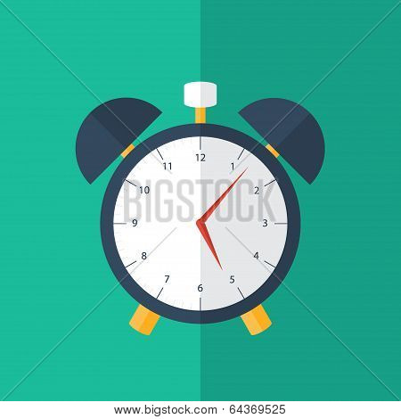 Blue Alarm Clock Icon Over Green
