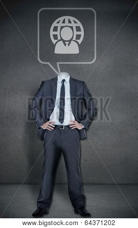 Composite image of headless businessman with speech bubble in grey room