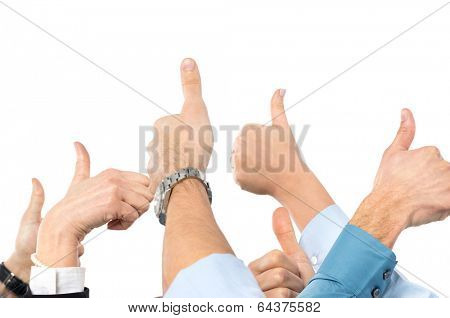 Close Up Of Businesspeople's Hand Gesturing Thumb Up Sign