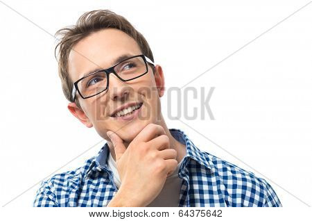 Portrait Of Thoughtful Young Man Looking Away Isolated On White Background