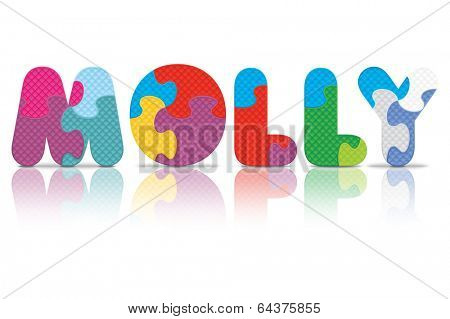 MOLLY written with alphabet puzzle - vector illustration