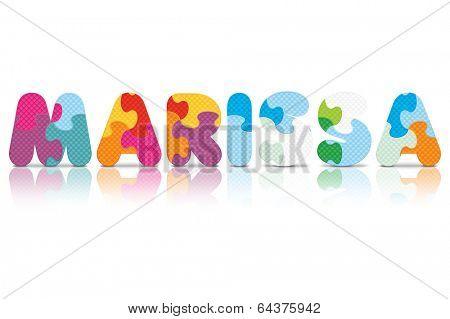 MARISSA written with alphabet puzzle - vector illustration