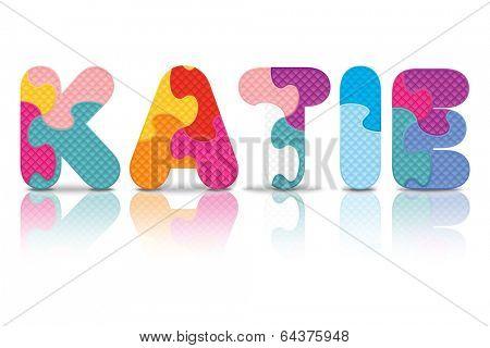 KATIE written with alphabet puzzle - vector illustration