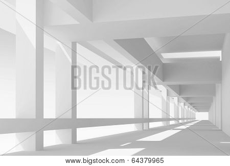 Abstract Architecture 3D Background With Perspective View Of White Corridor