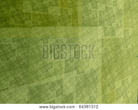 Abstract Green Square Fractal Perspective Mosaic Style Background