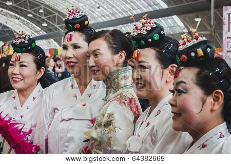 Women In Traditional Dress At Orient Festival In Milan, Italy