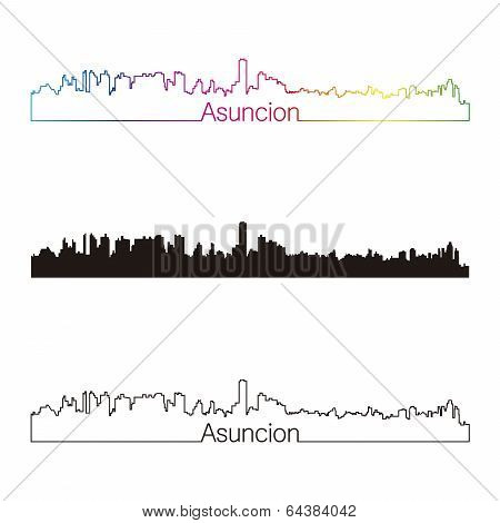 Asuncion Skyline Linear Style With Rainbow